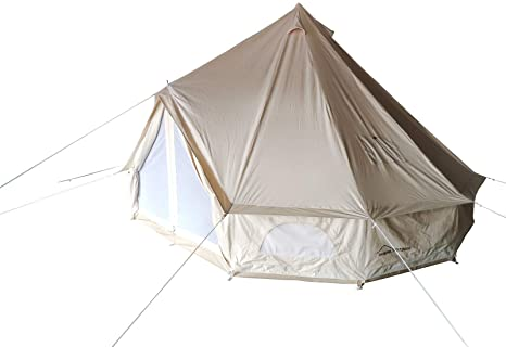 9. DANCHEL OUTDOOR Double Wall Full Mesh Cotton Canvas Spacious Bell Tents with Top Fiberglass Stove Jacket, 13ft