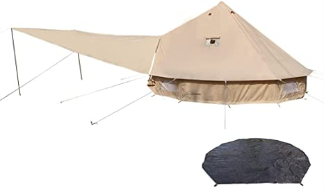7. DANCHEL OUTDOOR 4 Season Cotton Canvas Bell Tent with Two Stove Jacks, Front Tarp Awning, Waterproof Footprint
