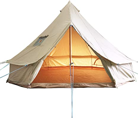 10. Luxury Outdoor Bell Tent 4 Season Large Cotton Canvas Glamping Tent with Roof Stove Jack for Camping Hiking Party