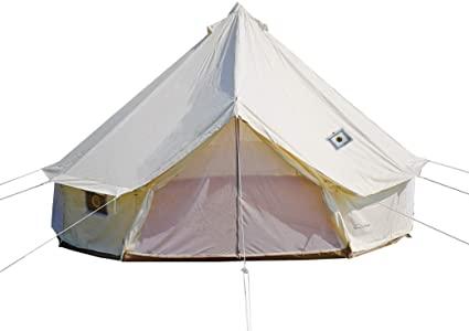 3. DANCHEL OUTDOOR 4 Season Yurt Bell Tent with Two Stove Jacks Fire Retardant for Family Glamping Winter Camping White