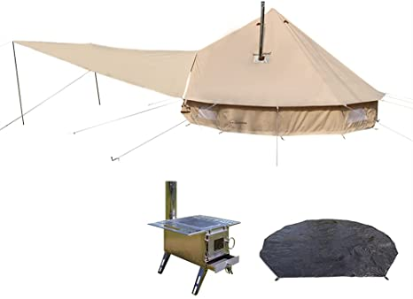 6. DANCHEL OUTDOOR Two Stove Jacket Bell Tent with Front Awning, Tent Wood Burning Stove and Footprint for Camping