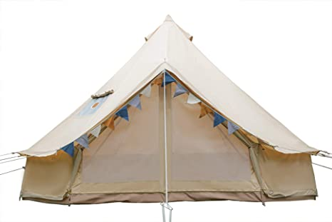 8. Outop Bell Tent with Stove Hole (Roof), Breathable 100% Cotton Canvas Tent for Camping Trips