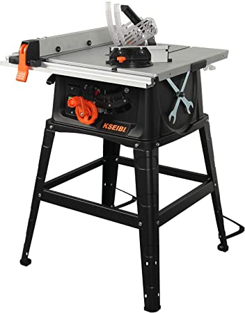 4. KSEIBI 10-Inch Woodworking Table Saw 15Amp with Metal Stand, Sliding Miter Gauge Cutting Speed Up to 4800 RPM