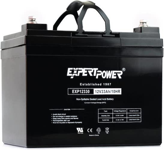 5.ExpertPower 12v 33ah Rechargeable Deep Cycle Battery [EXP1233]