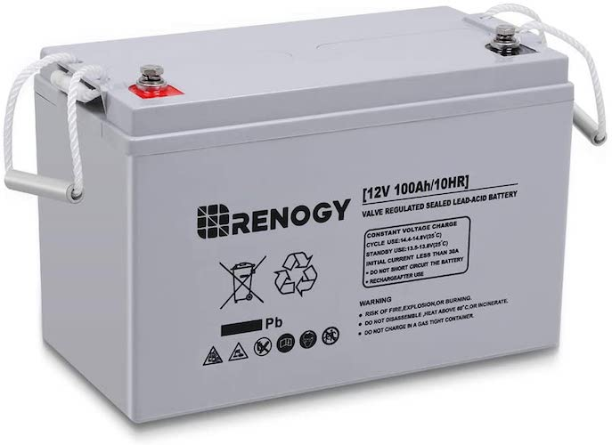1.Renogy Deep Cycle AGM Battery 12 Volt 100Ah for RV, Solar Marine and Off-grid Applications, Gray