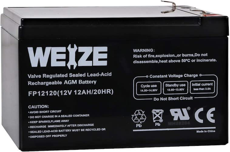 10.Weize 12V 12AH Sealed Lead Acid (SLA) AGM Deep Cycle Rechargeable Battery