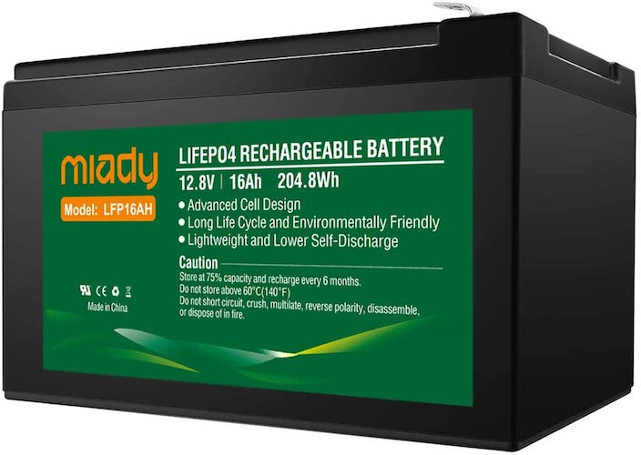 3.12V 16Ah Deep Cycle LiFePO4 Battery, 2000 Cycles Miady LFP16AH Rechargeable Battery, Maintenance-Free Battery