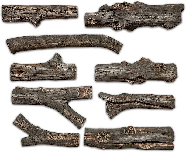 4.Midwest Hearth Deluxe Decorative Branch and Twig Set | Cast from Real Logs and Hand Painted in USA (Driftwood 9-Piece)