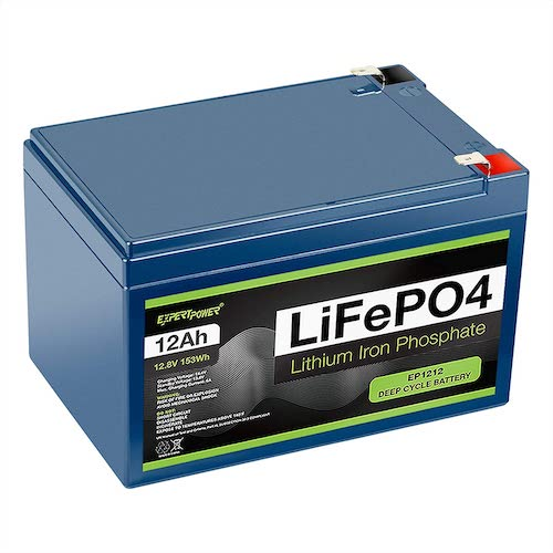 9.ExpertPower 12V 12Ah Lithium LiFePO4 Deep Cycle Rechargeable Battery   2500-7000 Life Cycles & 10-Year Lifetime   Built-in BMS
